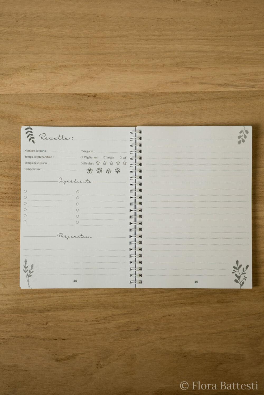 Pages carnet de recettes