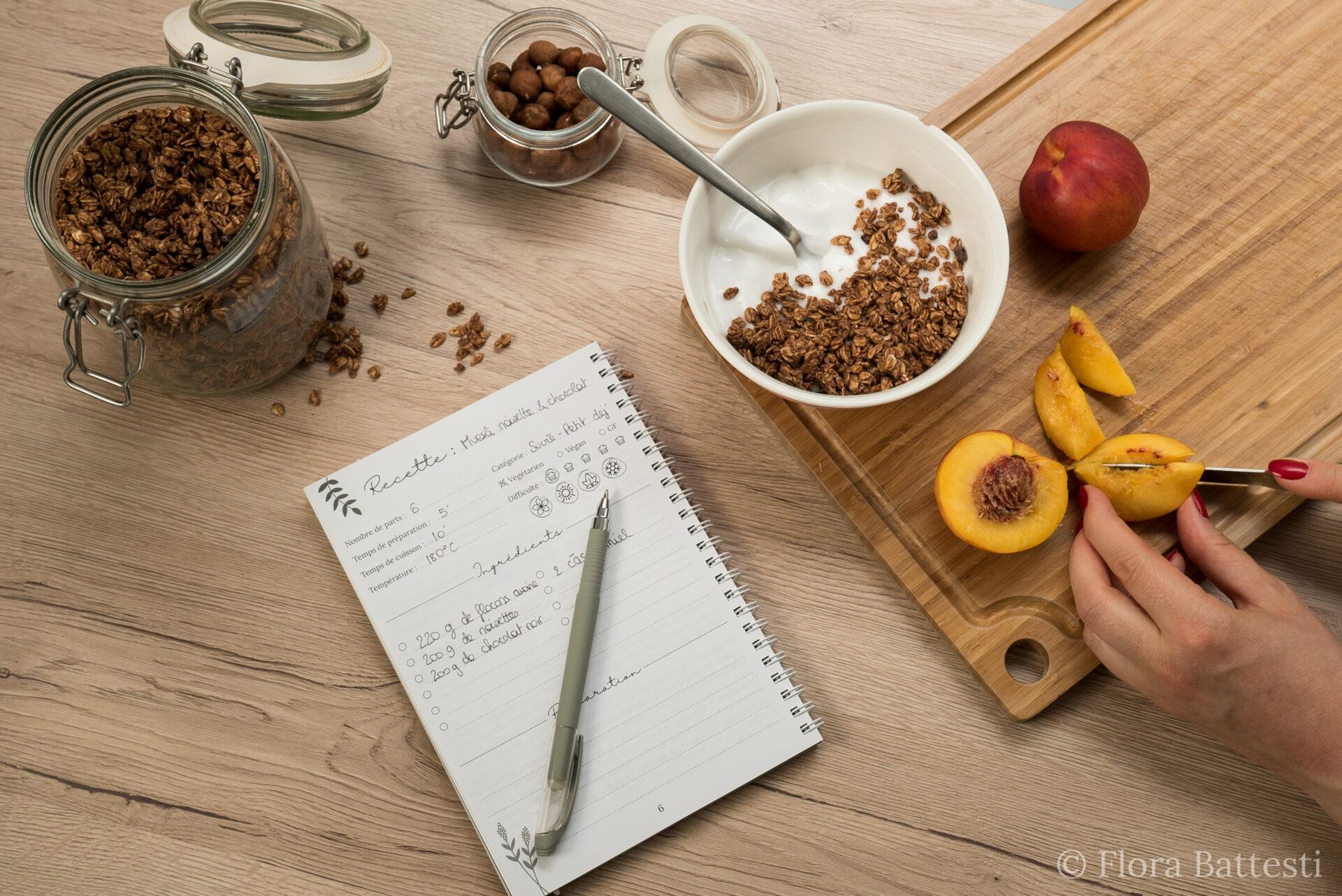 Carnet de recettes en cuisine